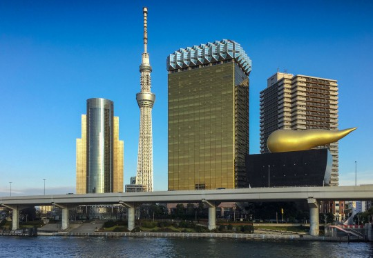 Tokyo Skytree (634m) the Asahi-Brewery designed by Philippe Starck